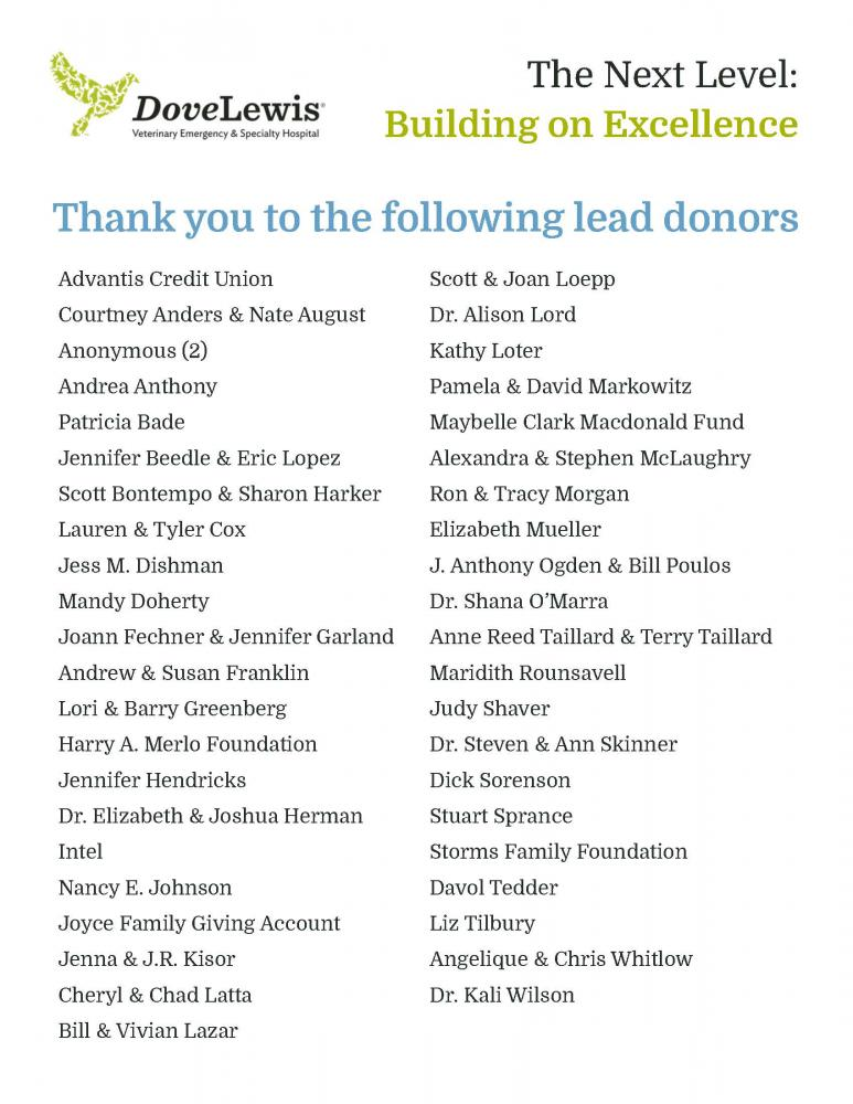Donors of DoveLewis Emergency Animal Hospital